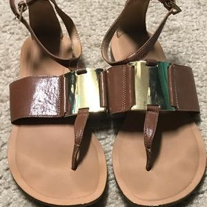 Natural and gold sandals